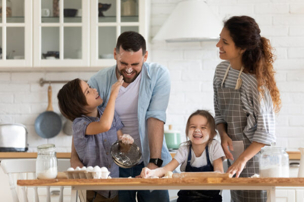 Happy Family in a Kitchen