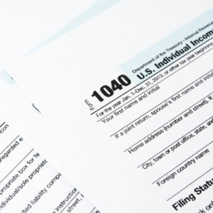 Tax Return form 1040.